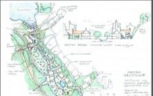 Så här skulle området i det nedlagda grustaget kunna bebyggas. Skissen är framtagen av arkitekten Kjell Forshed.
